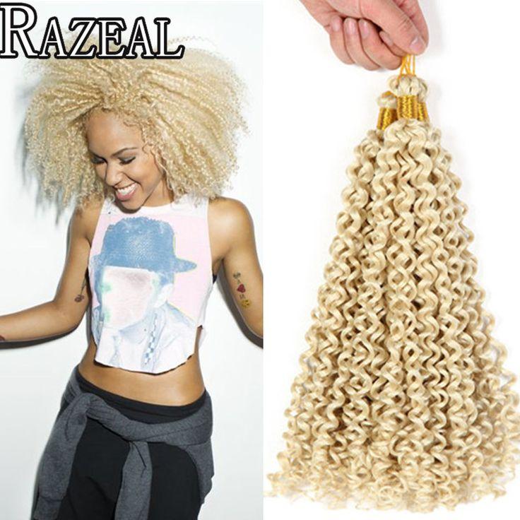 Zazeal Haarproducten 14In Gehaakte Vlechten Blonde Vlechten Haar Kinky Krullend Freetres Water Wave Synthetisch Crotchet Haarverlenging