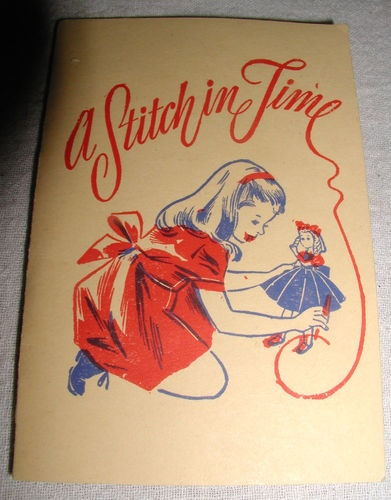 """Vintage Fold-up Cardboard Advertising """"A Stitch in Time"""" Sewing Needle Case"""