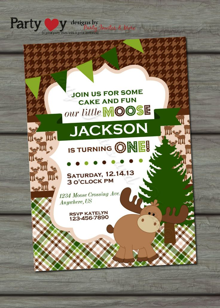 Moose Birthday Invitation Little Moose by PartyInvitesAndMore, $10.00