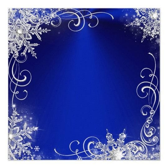 Quinceanera Masquerade Royal Blue White Snowflakes Card