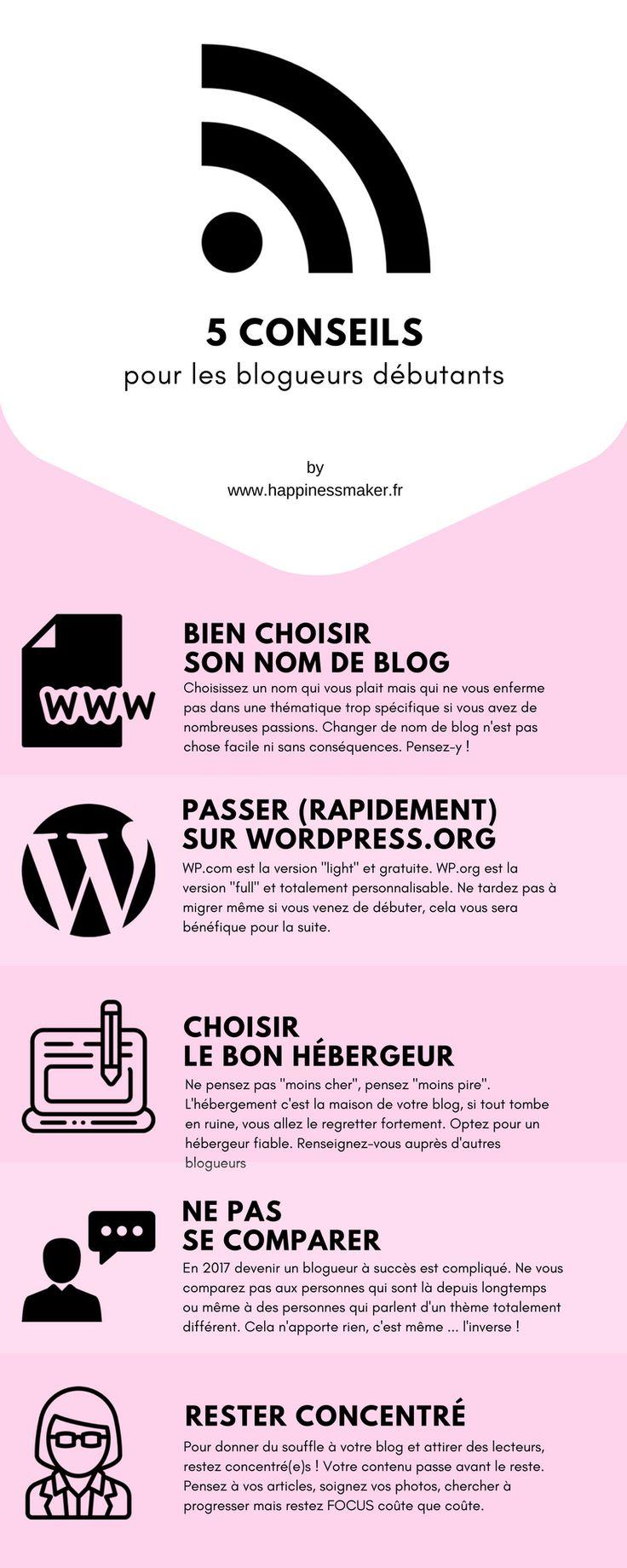 Commencer un blog : Mes 5 conseils pour les blogueurs débutants sous Wordpress mais aussi Blogger, Wix ... infographie réalisée par Happiness Maker blog beauté et bien-être