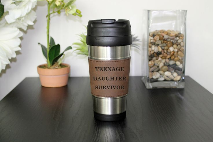 Leather Travel Mug, Leather Coffee Mug, Personalized Travel Mug, Personalized Mug, Coffee Mug, Custom Travel Mug --TM-DBLTH-TEENDAUGHTER by Etchey on Etsy https://www.etsy.com/listing/295325277/leather-travel-mug-leather-coffee-mug