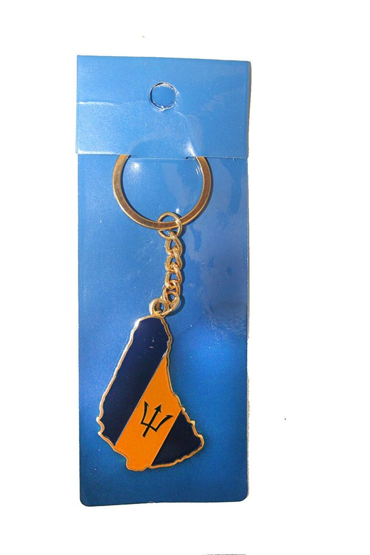Show your love of Barbados with this beautiful keyring in the shape of the island and featuring the national flag.