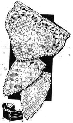 1960s Chair Set pattern Rose in filet crochet