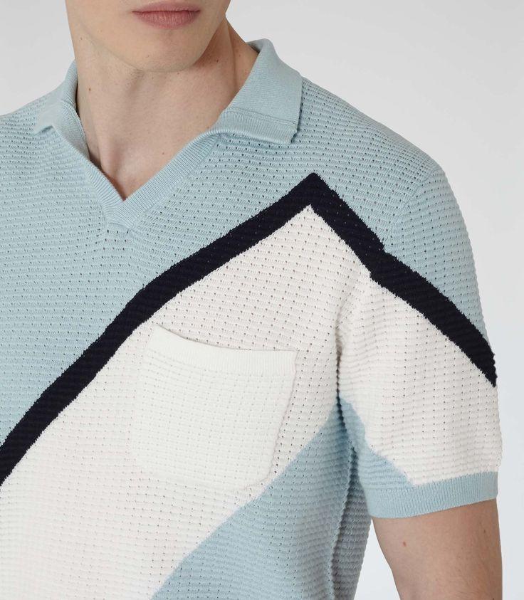 Mens Sky Blue Block Colour Polo Shirt - Reiss Harlem