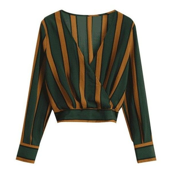 Elastic Hem Crossed Front Stripes Blouse ❤ liked on Polyvore featuring tops, blouses, stripe top, elastic hem blouse, stripe blouse, striped top and cross front blouse