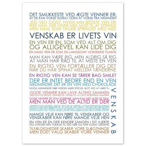 Plakat - Venskab multicolor