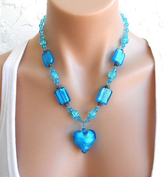 Chunky Necklace Blue Large Big Bold Heart Blue Jewellery