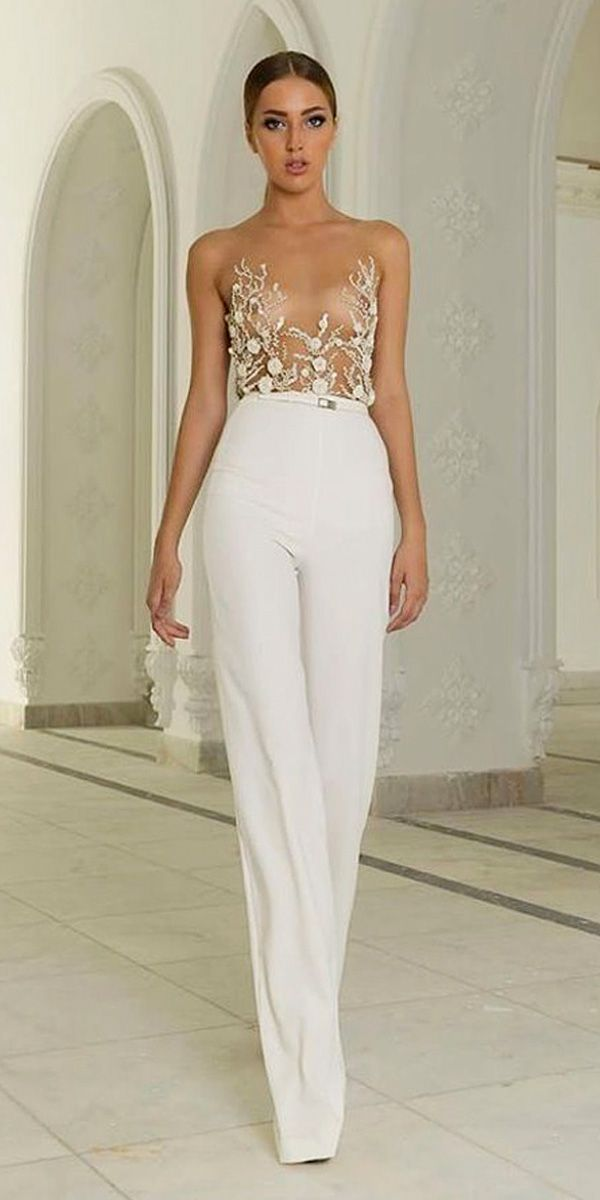 wedding pantsuit via abed mahfouz / http://www.deerpearlflowers.com/wedding-pantsuits-and-jumpsuits-for-brides/