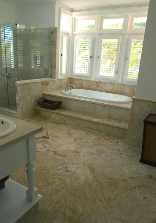 Coral Stone Master Bathroom Make A Step Ledge For Our