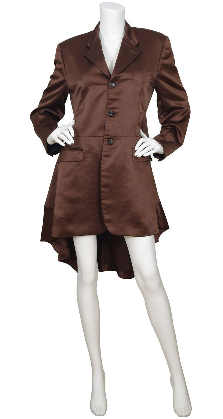Comme des Garçons AD1995 Brown Satin Tuxedo Tail Coat. Available on Featherstone Vintage.