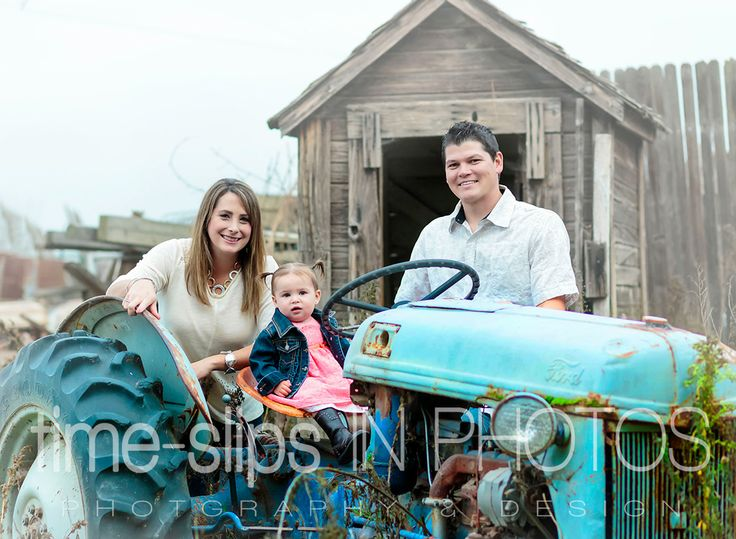 Family portrait session with vintage tractor at West 12 Ranch Studio in Lodi, CA: