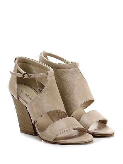 Salvador Ribes - Sandalo alto - Donna - Sandalo alto in pelle vintage con cinturino alla caviglia e suola in cuoio. Tacco 95. - CORDA - € 140.00