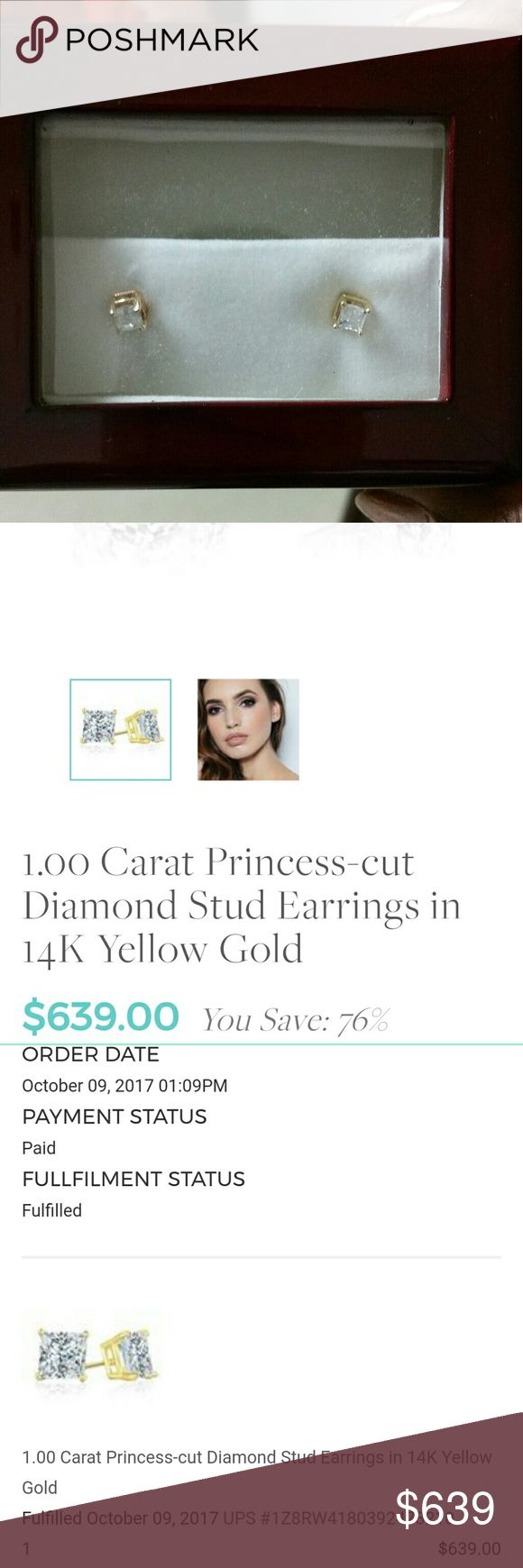 1 kt studs THEY'RE AVAILABLE! Can't change listing Beautiful and brand new 1 karat yellow gold diamond stud earrings. Still in box. Bought for my now ex boyfriend and can't send back due to grave period too long. Price is shown for what I actually paid for them.  Reasonable offers seriously please! Netaya Jewelry Earrings