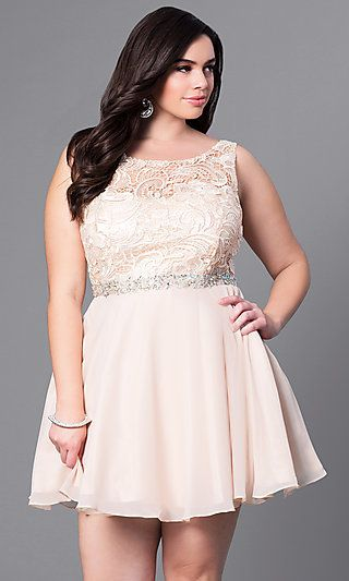 8193a861350 Shop cheap plus-size party dresses at PromGirl. Semi-formal plus-size  dresses under  150 with v-back lace bodices and short chiffon skirts.