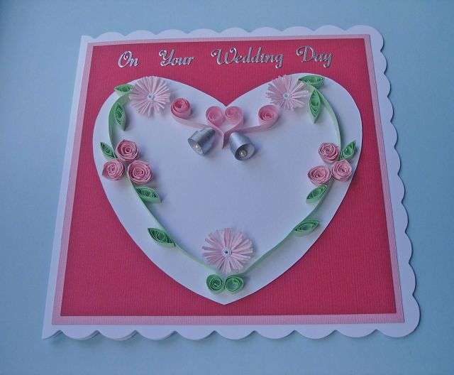 Quilled wedding day card - pink roses