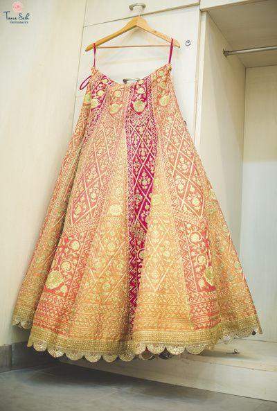 Bridal Lehenga - Pastel Striped Lehenga with Dull Gold Embroidery   WedMeGood #wedmegood #indianbride #indianwedding #bridal #lehenga #indianlehenga #bridallehenga