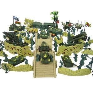 150+ Army Military Play Set Soldiers Bridge Missiles Trucks Planes Blockade Walls!