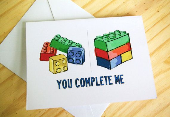 """You Complete Me"" Lego Card by sillyreggie, $3.50"