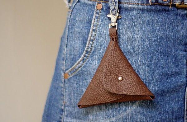 Non c'è bisogno di cucire, portafoglio in pelle fatto in casa semplice super mini 19