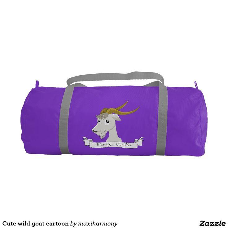 Cute wild goat cartoon gym duffel bag