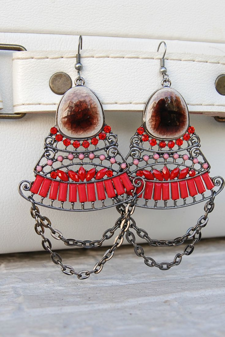Red big earrings, Chandelier earrings #boho #gypsy  #tribalearrings