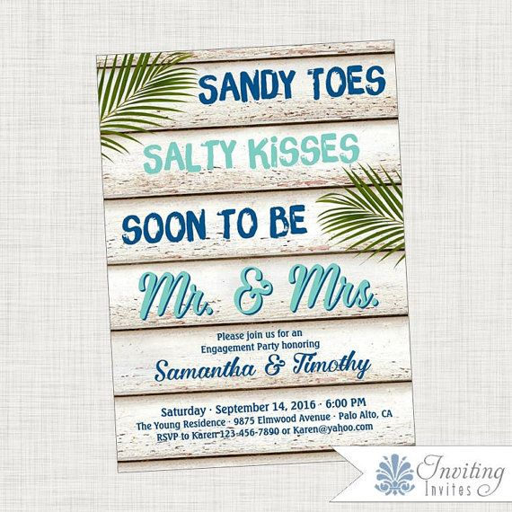 INVITATION NAME: Sandy Toes Salty Kisses You can purchase this listing as a DIGITAL FILE or as a PRINT ORDER DEPOSIT. (see print pricing below)