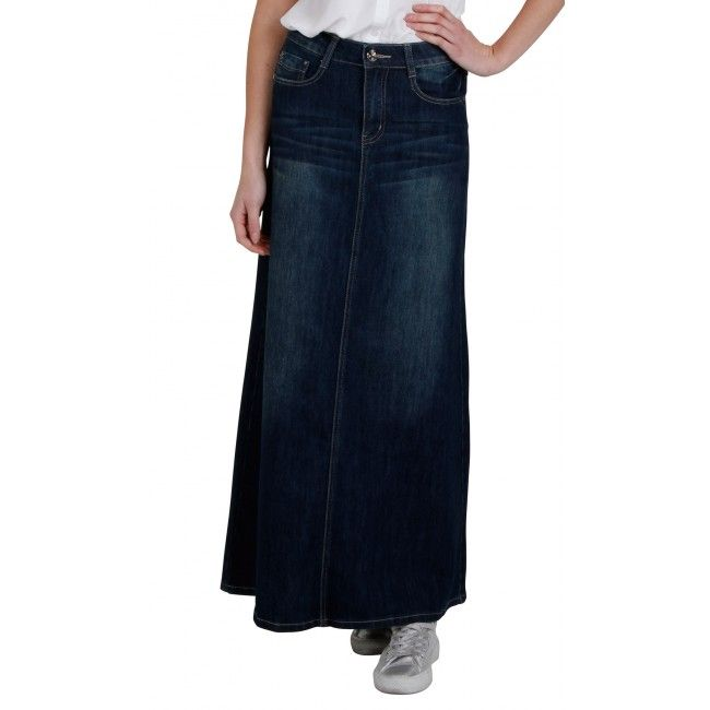 Long Dark Wash Denim Skirt. Maxi skirt #modestfashion