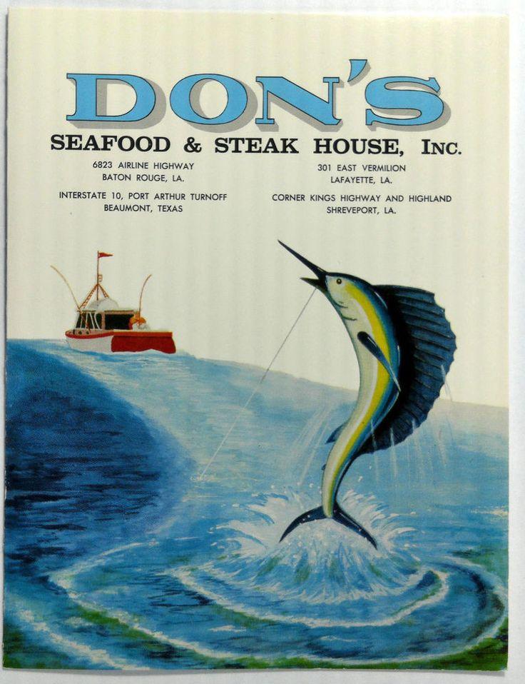 1950's Small Vintage Menu DON'S SEAFOOD & STEAK HOUSE Baton Rouge Louisiana
