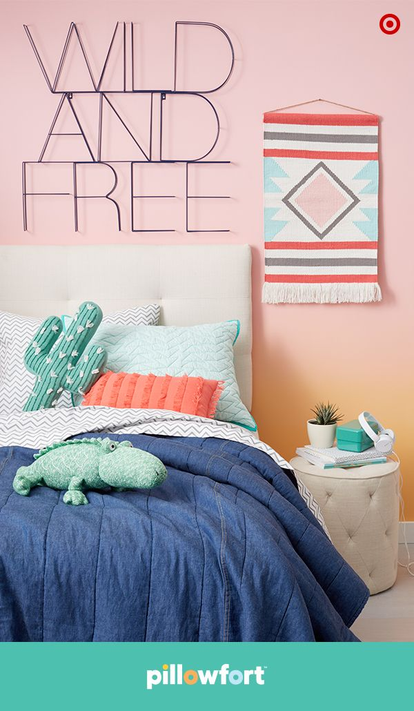 Pillowfort's wire wall art says it all, Wild and Free! The Modern Mirage collection lets kids get creative with desert beauties like mix-and-match bedding or a chic, woven wall hanging. And the adorable cactus throw pillows are as cuddly as they are cute because Southwestern style is totally kid-cool, too.