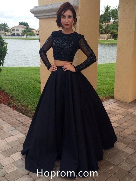 Long Sleeves Black Beading Prom Dress Two Pieces Vintage Prom Dress ... 009ebac70