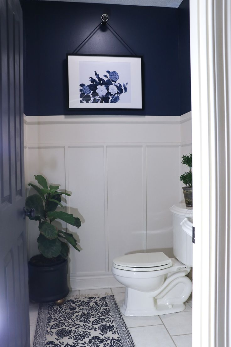 Navy Bathroom Makeover Navy Bathroom Diy Bathroom