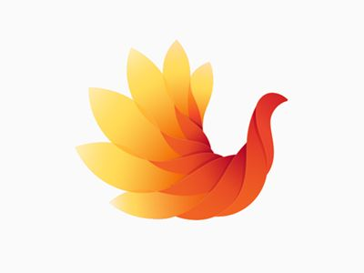 Logo suggestion for an author and beautiful power woman.  A bird that seems to be half animal, half flower is blooming, unfolding its potential. The fiery colors and the feathers that resemble flam...
