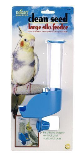 $8.74-$8.99 The Insight Clean Seed Large Silo Feeder is intended for Cockatiels Parakeets and small Parrots. Comes with a larger seed chamber and opening to accommodate sunflower seeds parrot mixes and pellet food. Easily mounts on a cages feeder cup door opening. The seed chamber is covered by a unique lid that takes 2 hands to open keeping birds safe from mischief when playing outside #parrotcagecover #parrotfood