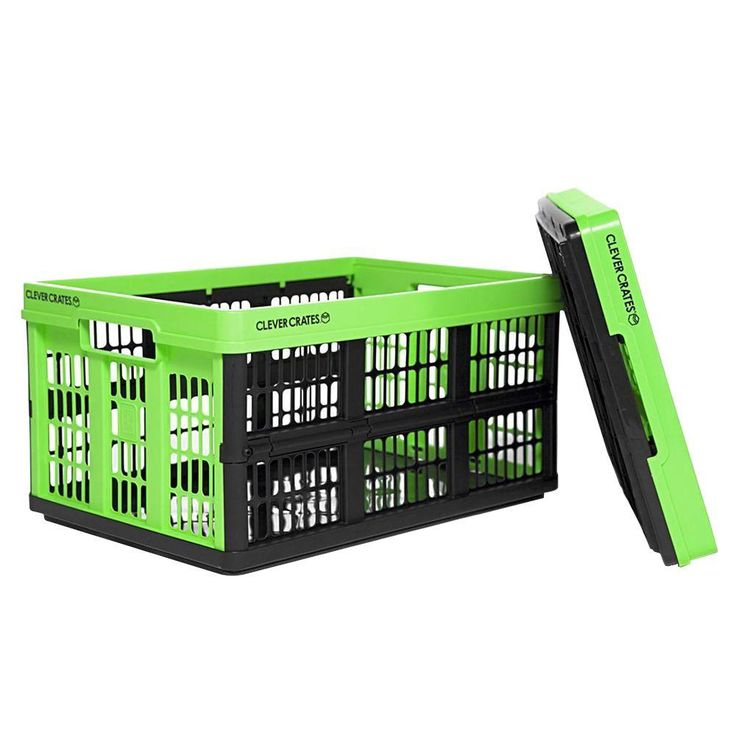 Clever Crates 47 5 Qt Collapsible Utility Box In Kiwi Green 8031165 805 The Home Depot Utility Box Crates Collapsible Storage Bins