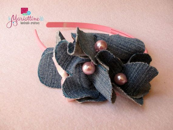 Baby Girl Hairband with Jeans Decorations di LeMariottineLab