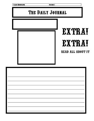 Classroom Freebies: Newspaper Template
