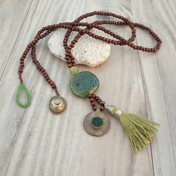 Long Mala Tassel Necklace in Green and Brown with Gypsy Coin Charm by GypsyIntent