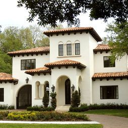 Mediterranean Exterior- cream, deep gray, red roof. Light fixtures to set it off