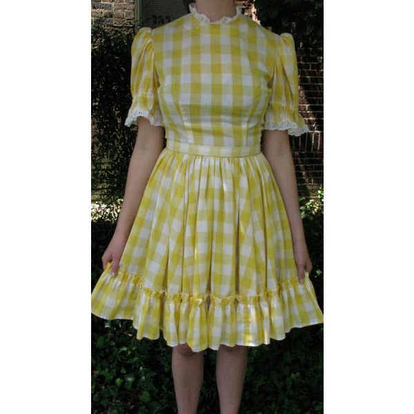 vintage 1960s yellow gingham square dance dress ($30) ❤ liked on Polyvore featuring dresses, yellow vintage dress, full skirts, yellow dress, yellow ruffle dress and doll dress