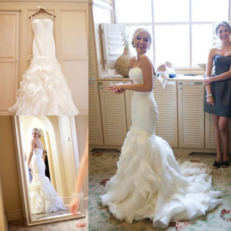 2016 Cascading Ruffles Wedding Dresses Sexy Mermaid Court Train Organza Summer Spring Garden Bridal Gowns Custom Made Plus Size Online with $131.5/Piece on Beautydoor's Store | DHgate.com