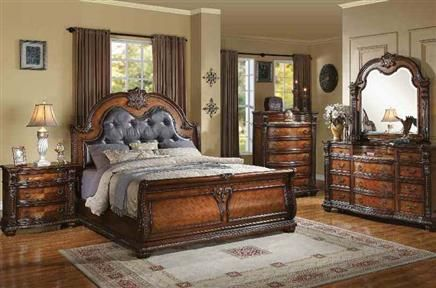 Nathaneal Brown Wood Pu Master Bedroom Sets Master