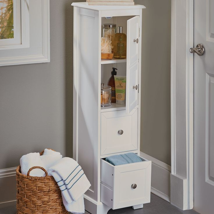 Weatherby White Bathroom Cabinet Its Slim Design And Tall Height Make It A Perfect Storage