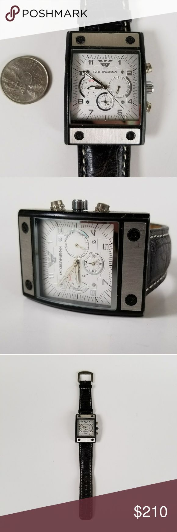 Armani Mens Watch Authentic Armani water resistant men's watch with leather band and stainless steel detail. Used good condition and working perfectly! Serial#1211G Emporio Armani Accessories Watches