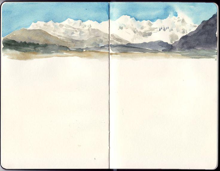Oser laisser des blancs pour donner une impression de vide, de calme, etc. - Travel Journal-Art Diary-Eclectic Design| Serafini Amelia| Watercolor