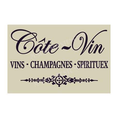 Cote Vin French Wine Champagne Spirits 20x30 Stencil