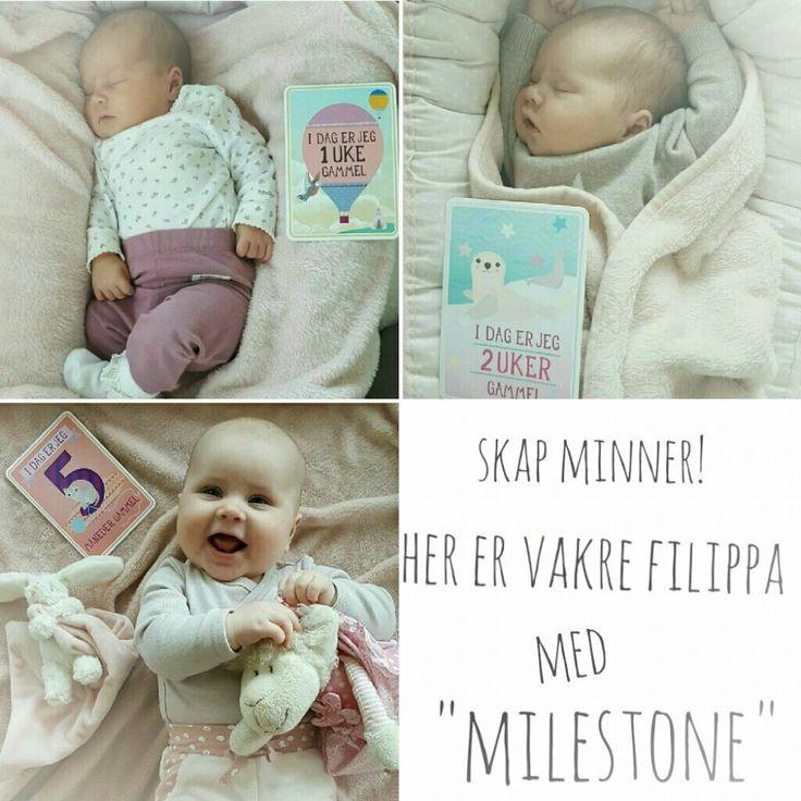 Milestone baby kortene er en unik måte å bevare minnene fra barnets første tid. Her er nydelige Filippa gullet, som vi er så heldig å få følge!