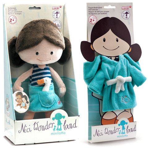 "Nici Wonderland MiniLotta 12"" Machine Washable Bath Tub Plush Doll with Bath Robe"