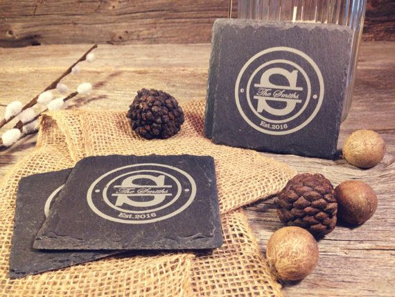 Slate Coasters w/Circle Initial Design  Laser by OTBengraving