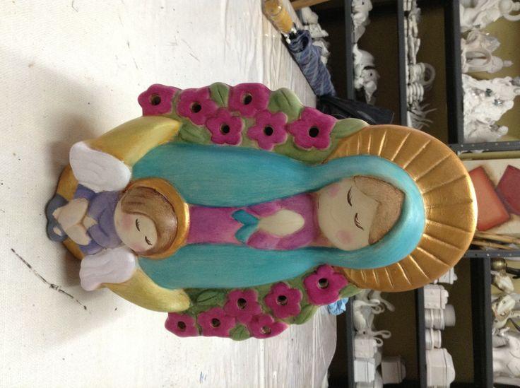 Virgen ni a pieza de ceramica trabajada en pintura de - Ceramicas sanchez ...